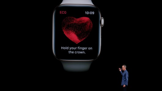 Jeff Williams introduces the new Apple Watch capable of taking an FDA-approved electrocardiogram at the company's annual product launch, Wednesday, Sept. 12, 2018, in Cupertino, Calif.