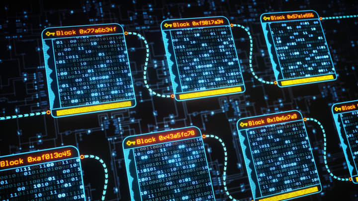 Blockchain Technology Concept Multiple