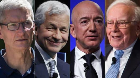 L-R: Apple CEO Tim Cook, JP Morgan Chase CEO Jamie Dimon, Amazon CEO Jeff Bezos and Berkshire Hathaway CEO Warren Buffett.