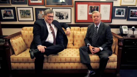 Incoming Senate Judiciary Committee Chairman Lindsey Graham (R-SC) meets with U.S. Attorney General nominee William Barr in Washington, U.S., January 9, 2019.
