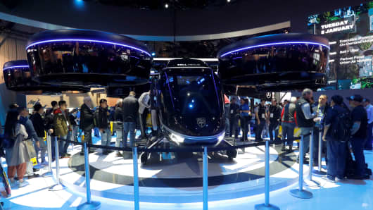 The Bell Nexus, a vertical take-off and landing (VTOL) aircraft is displayed during the 2019 CES in Las Vegas, Nevada, U.S. January 8, 2019.