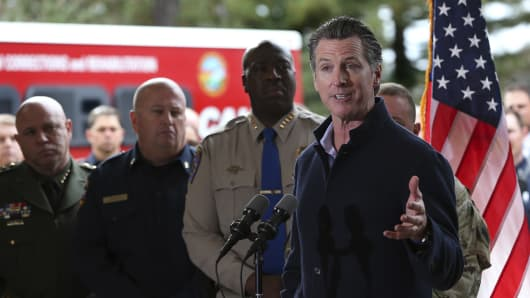 Gov. Gavin Newsom discusses emergency preparedness during a visit to the California Department of Forestry and Fire Protection CalFire Colfax Station Tuesday, Jan. 8, 2019, in Colfax, Calif.