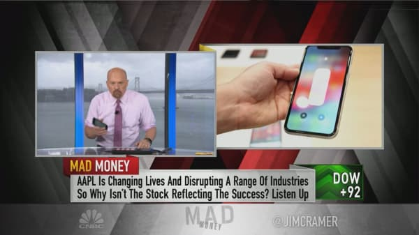 Apple's stock will continue to struggle until one of two things happens, says Jim Cramer