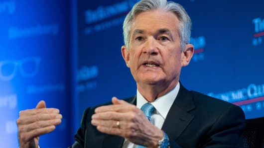 Federal Reserve Chairman Jerome Powell speaks during a discussion at the Economic Club of Washington on January 10, 2019, in Washington, DC.