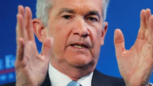 Federal Reserve Board Chairman Jerome Powell participates in a luncheon discussion hosted by the Economic Club in Washington, U.S., January 10, 2019.