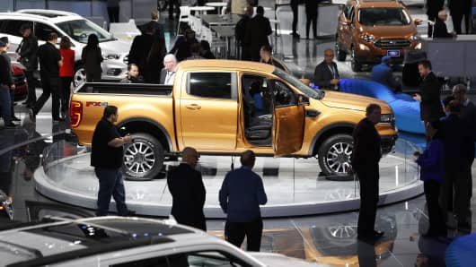 The Ford exhibit is shown at the 2018 North American International Auto Show January 16, 2018 in Detroit, Michigan. More than 5,100 journalists from 61 countries attend the NAIAS each year.