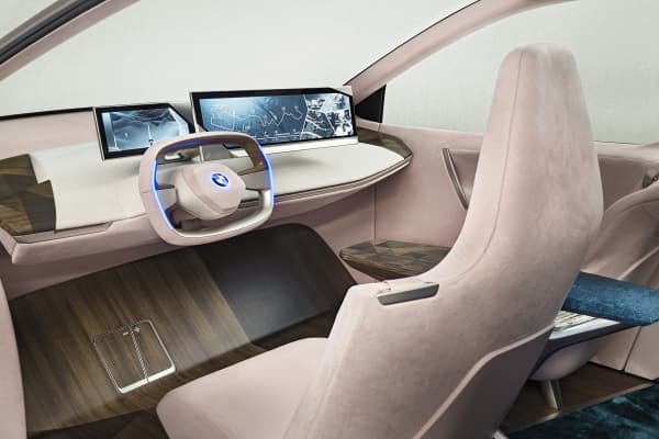 The interior of BMW's Vision iNEXT autonomous vehicle.