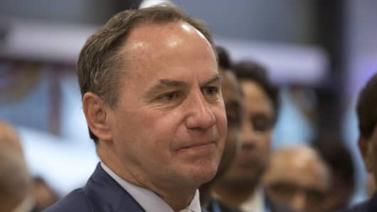 Bob Swan, interim chief executive officer and chief financial officer of Intel Corp., reacts during the inauguration of the company's research and development facility in Bengaluru, India, on Thursday, Nov. 15, 2018.