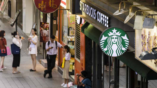 A view of Starbucks Coffee at Tsim Sha Tsui on July 26 2018 in Hong Kong, China.