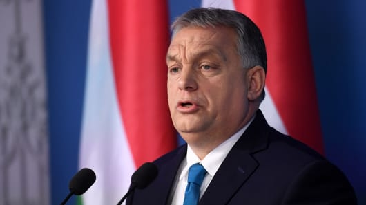 Hungarian Prime Minister Viktor Orban speaks during the first regular government press conference of the year on January 10, 2019 in Budapest.