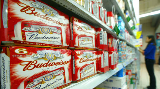 Budweiser beer is displayed in a Shanghai, China supermarket.