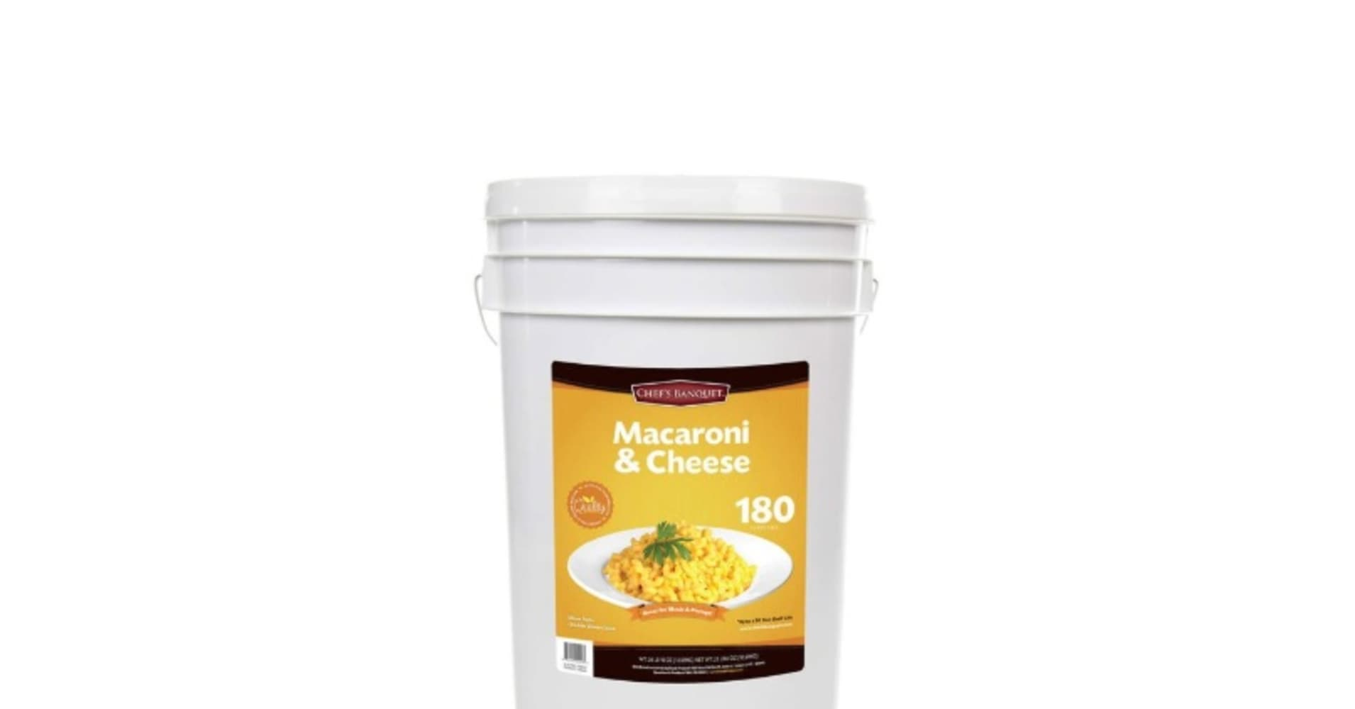 The Chef's Banquet Macaroni & Cheese is $89.99, 27-pounds, and has a 20-year shelf life.