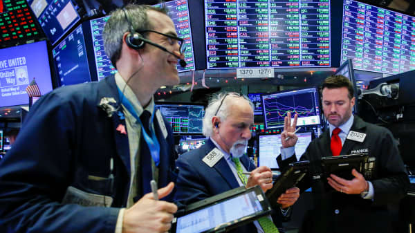 Traders work on the floor of the New York Stock Exchange (NYSE) in New York, U.S., December 27, 2018.