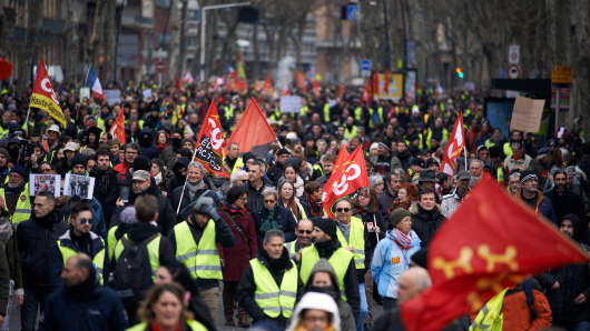 For the Act 9 of the Yellow Vest movement, more than ten thousands of people took to the streets. At its beginning on November 17th, the Yellow Vests begun by a protest against the rise of taxes on oil products. The CGT trade union participated to the demonstration of the Yellow Vests. They ask for more democracy and for the RIC (Citizens Initiated Referendum). The rise of taxes was the detonator of their wrath against French President Macron and his governement and their demand of his resignation. Toulouse. France. January 12th 2018.