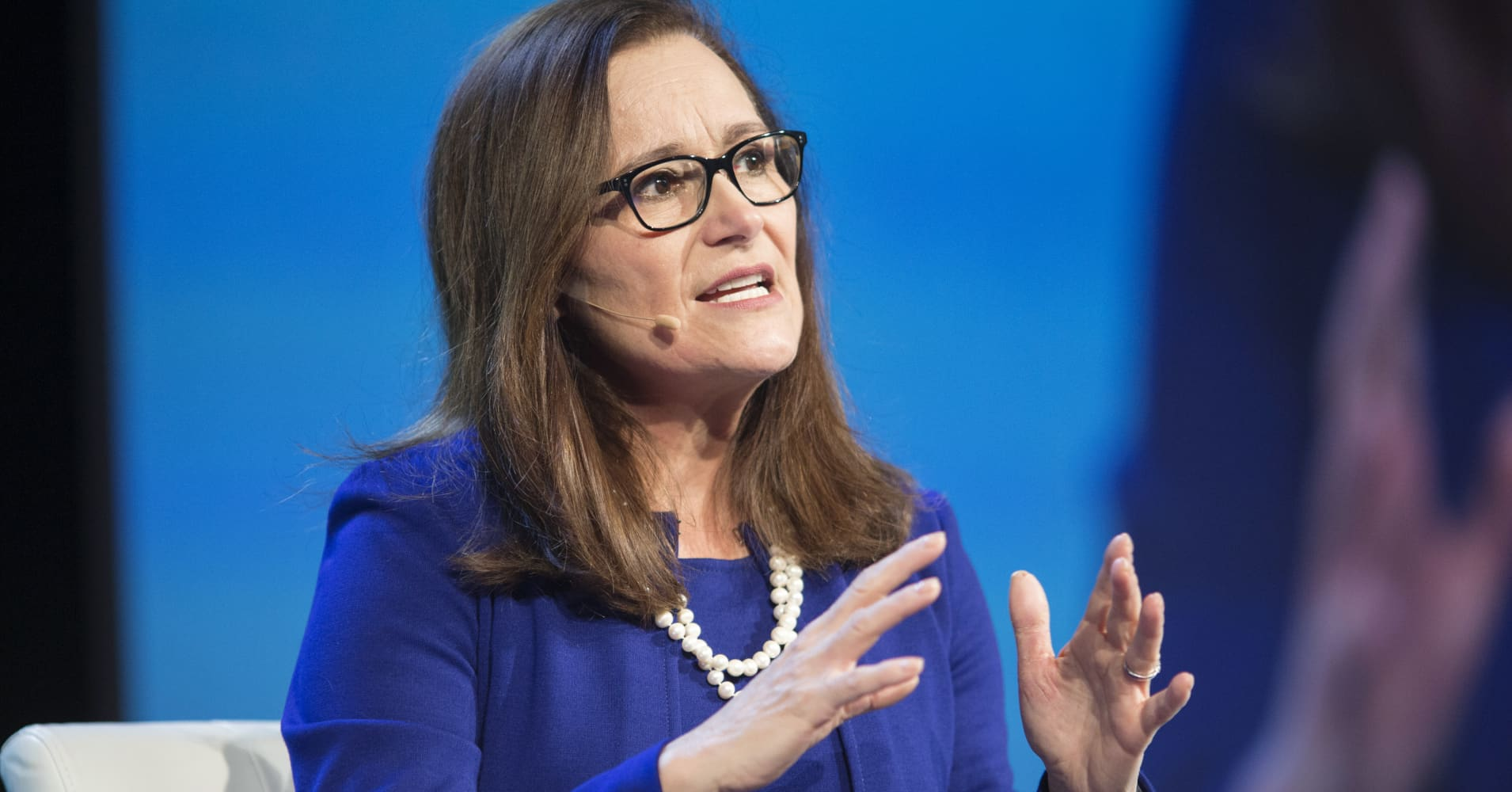 Geisha Williams, president and chief executive officer of PG&E Corp., speaks during the 2018 CERAWeek by IHS Markit conference in Houston, Texas, on Thursday, March 8, 2018.