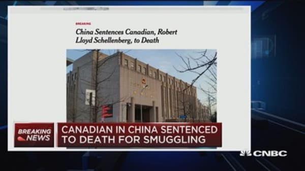 Canadian in China sentenced to death for smuggling