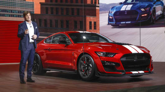 Jim Farley, Ford Motor Company Executive Vice President and President of Global Markets, reveals the 2020 Ford Mustang Shelby GT 500 at the 2019 North American International Auto Show during Media preview days on January 14, 2019 in Detroit, Michigan.