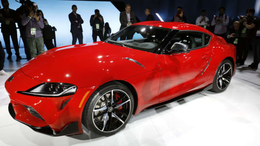 The 2020 Toyota Supra rear-wheel-drive sports coupe is revealed at the 2019 North American International Auto Show during Media preview days on January 14, 2019 in Detroit, Michigan.