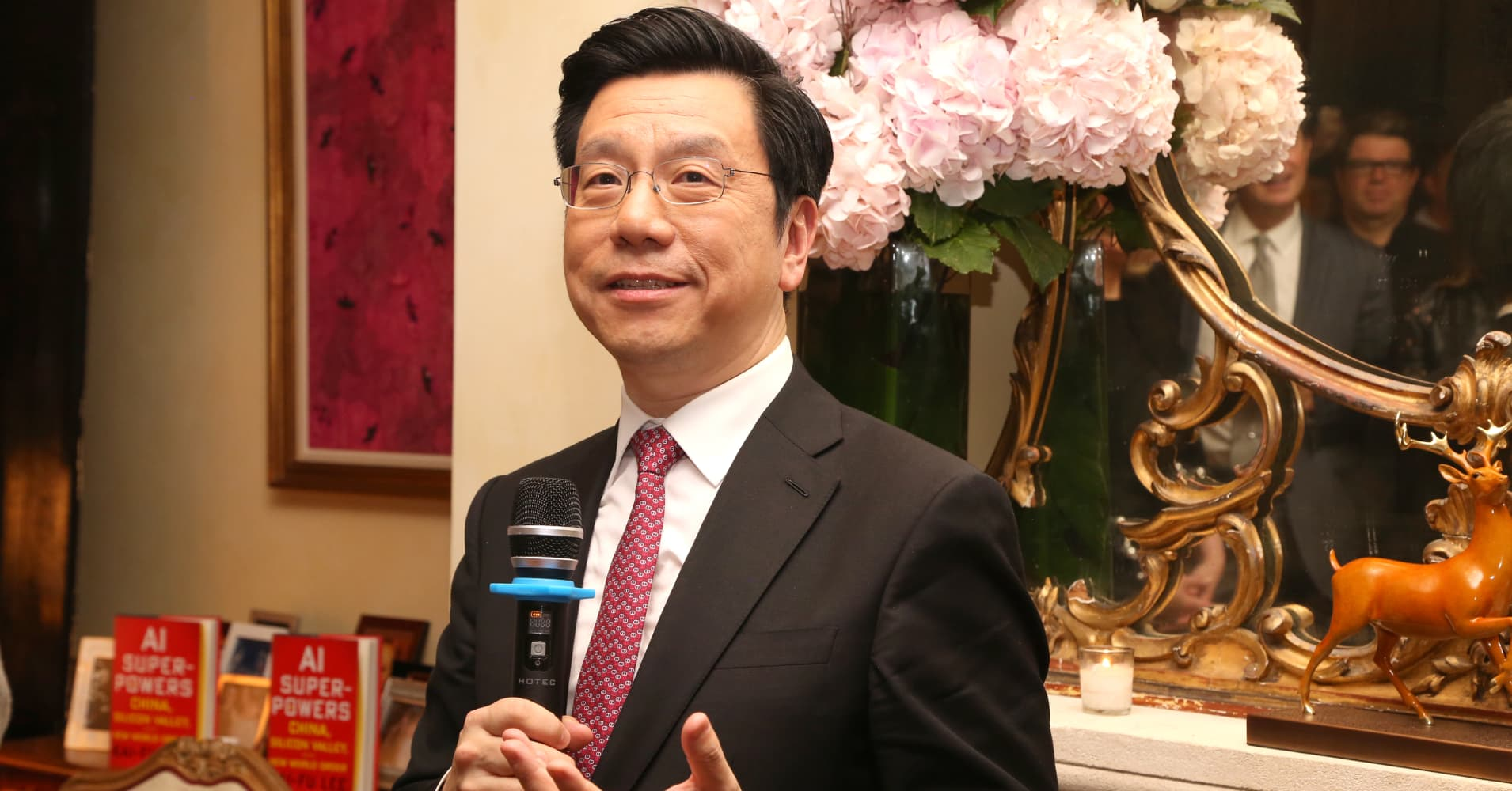 "Kai-Fu Lee at a book launch party for ""AI Superpowers: China, Silicon Valley and the New World Order"" in September, 2018."