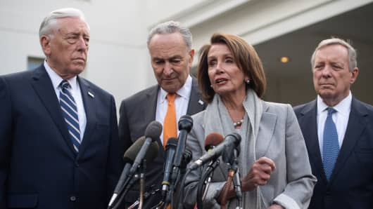 US Speaker of the House Nancy Pelosi (2nd R), Senate Democratic Leader Chuck Schumer (2nd L), House Democratic Whip Steny Hoyer (L) and Senate Democratic Whip Dick Durbin (R) speak to the media following a meeting with US President Donald Trump about the partial government shutdown at the White House in Washington, DC, January 9, 2019.