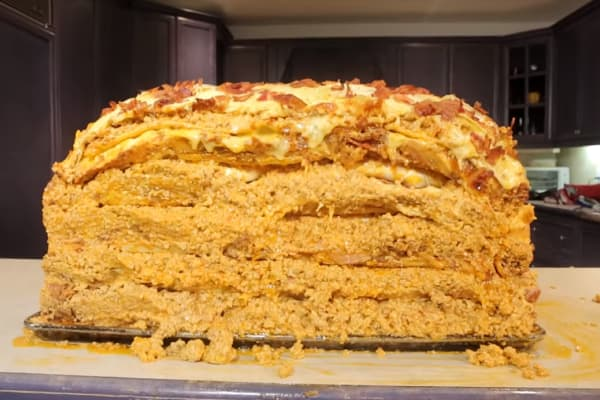In 2016, Harley Morenstein and the Epic Meal Time crew made a million-calorie lasagna that featured over 100 pounds of pork.