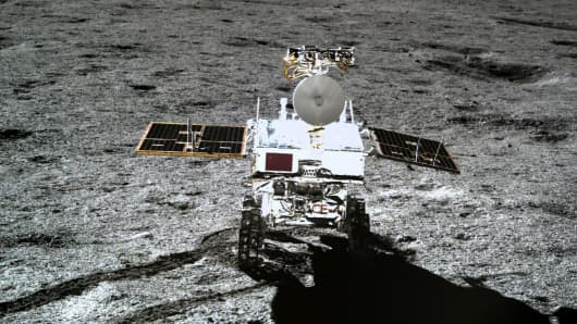 This picture released by the China National Space Administration (CNSA) shows the Yutu-2 moon rover, taken by the Chang'e-4 lunar probe on the far side of the moon.