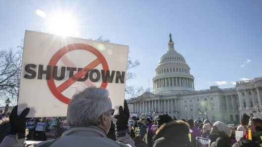 Demonstrators rally against a partial government shutdown at a protest hosted by the National Air Traffic Controllers Association (NATCA) on Capitol Hill in Washington, D.C., U.S., on Thursday, Jan. 10, 2019.