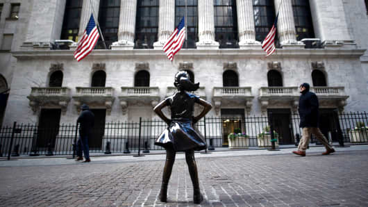 The 'Fearless Girl' statue stands facing the New York Stock Exchange (NYSE) on January 9, 2019 in New York.