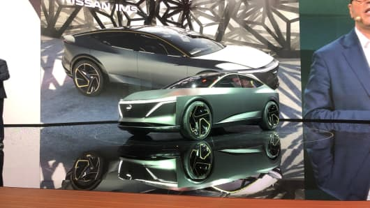 The Nissan IMs electric sports sedan at the 2019 North American International Auto Show in Detroit on Monday, Jan. 14, 2019.