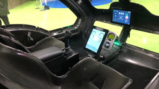 Interior of the Workhorse Group Surefly Octocopter at the Detroit auto show on Tuesday, Jan. 15, 2019 operates with a joystick-like device executives hope will make flying as easy as operating a drone.