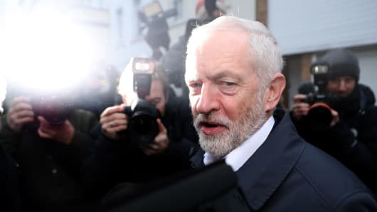 Opposition Labour party leader Jeremy Corbyn leaves his house in north London on January 16, 2019.