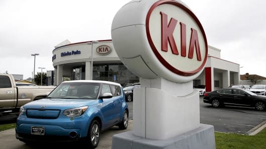 A sign with the Kia logo displayed at a Kia dealership in San Leandro, California.