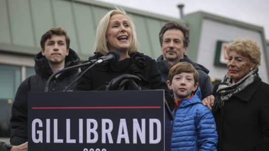 Surrounded by her family, Sen. Kirsten Gillibrand (D-NY) announces that she will run for president in 2020 outside the Country View Diner, January 16, 2019 in Troy, New York.