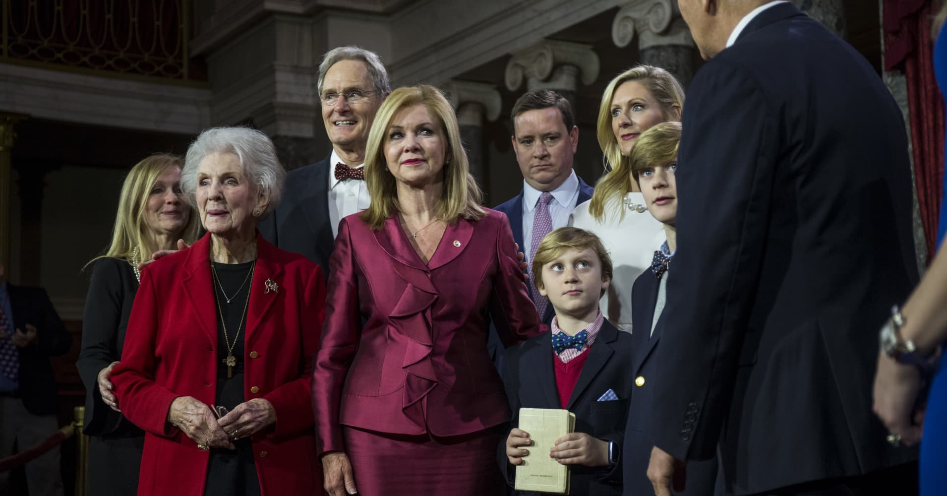 Senator Marsha Blackburn (R-TN) participates in a mock swearing in ceremony with Vice President Mike Pence on Capitol Hill on January 3, 2019 in Washington, DC.