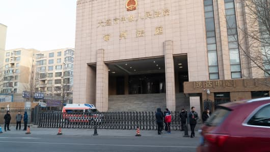 This photo taken on January 14, 2019 shows the Dalian Intermediate People's Court before the retrial of Canadian Robert Lloyd Schellenberg on drug trafficking charges, in Dalian, China's northeast Liaoning province.