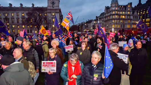 A People's Vote rally in Parliament Square. People assemble to watch the debate in Parliament and the final vote on the Brexit deal.