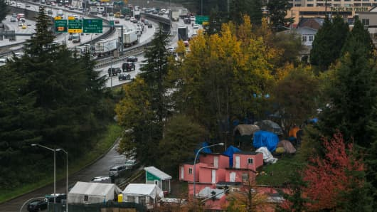 Rain falls on a homeless encampment called Nickelsville on November 3, 2015, in Seattle, Washington.