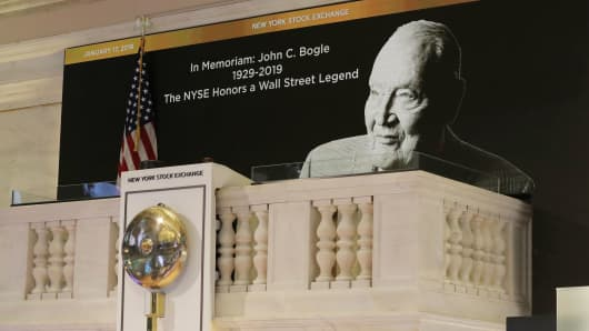 A tribute to Jack Bogle, founder and retired CEO of The Vanguard Group, is displayed on the bell balcony over the trading floor of the New York Stock Exchange in New York, January 17, 2019.