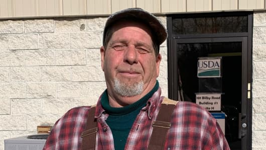 Produce Grower George Fetzer/Valley View Farm in Newtown, NJ—at the Farm Service Agency office, newly reopened for 3 days for limited services, in Hackettstown, NJ.