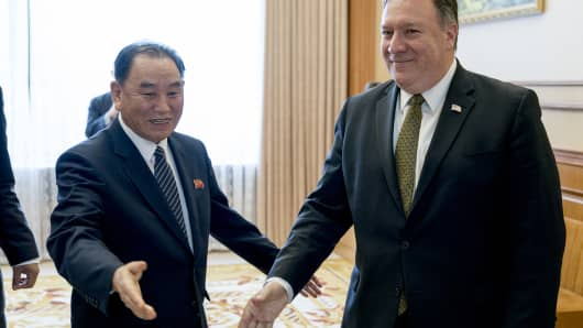 US Secretary of State Mike Pompeo (R) and Kim Yong Chol (L), a North Korean senior ruling party official and former intelligence chief, arrive for a lunch at the Park Hwa Guest House in Pyongyang on July 7, 2018.
