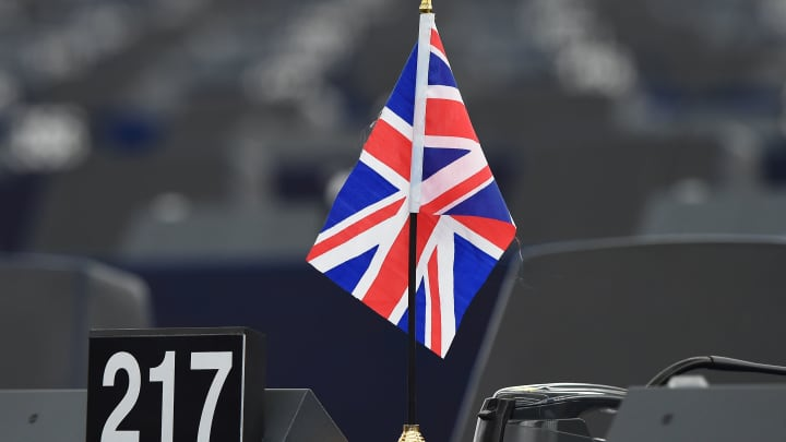 Britain's Union Jack national flag is pictured during a debate on Britains withdrawal from the EU during a plenary session at the European Parliament on January 16, 2018 in Strasbourg.