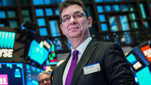 Albert Bourla, chief executive officer of Pfizer pharmaceutical company, arrives to ring the closing bell at the New York Stock Exchange, January 17, 2019.