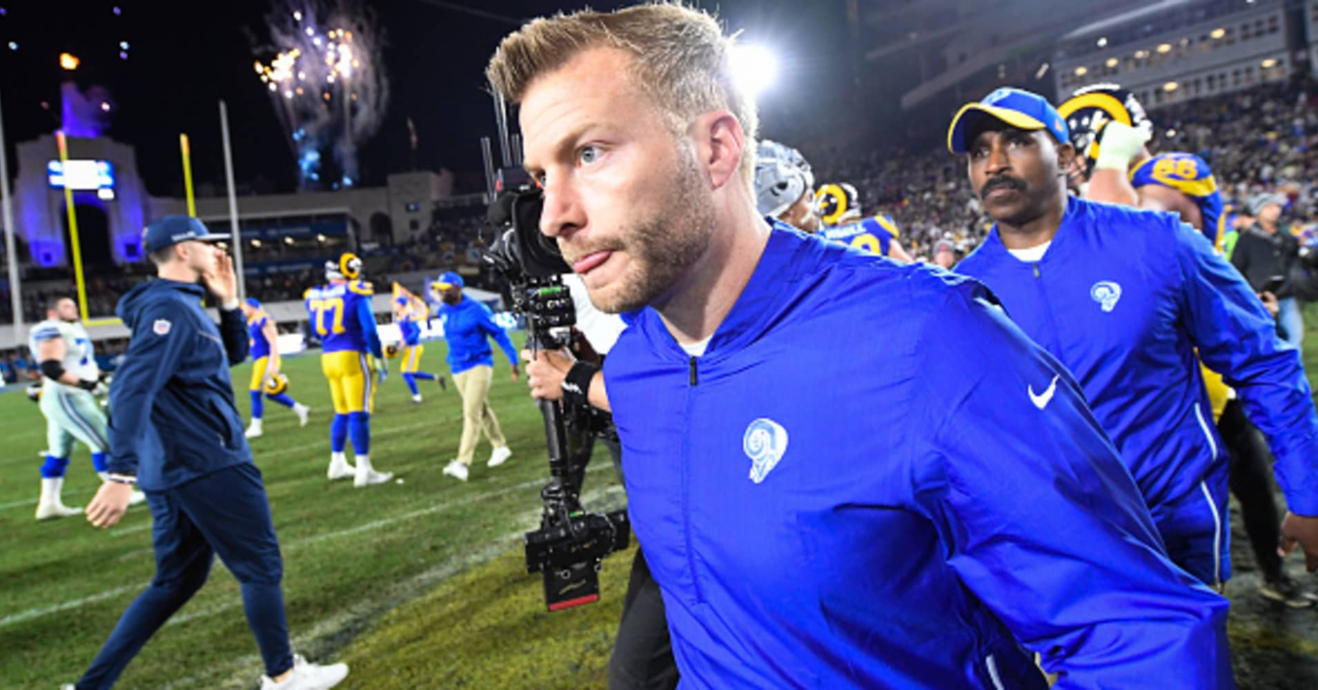 Head coach Sean McVay of the Los Angeles Rams leaves the field after winning the NFC Divisional Round playoff game against the Dallas Cowboys at Los Angeles Memorial Coliseum on January 12, 2019.