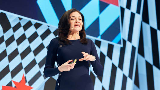 Facebook COO Sheryl Sandberg speaks at the DLD conference in Munich on January 20, 2019.