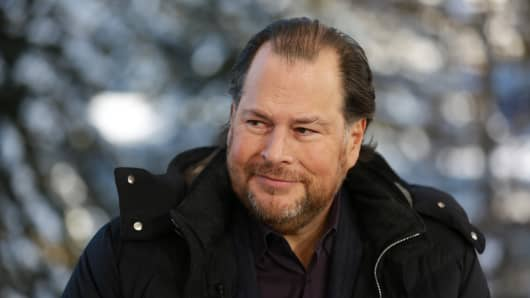 Marc Benioff, Co-CEO of SalesForce speaking at the WEF in Davos, Switzerland on Jan. 22, 2019.