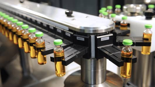 A high speed production line of insulin is pictured at the factory of Novo Nordisk, a global healthcare company, in Chartres.