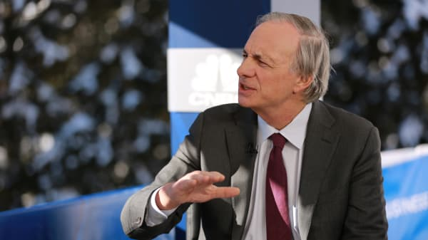 Ray Dalio, founder of investment firm Bridgewater Associates, speaking at the WEF in Davos, Switzerland on Jan. 22, 2019.