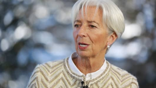 Christine Lagarde, Managing Director and Chairwoman of the International Monetary Fund, speaking at the WEF in Davos, Switzerland on Jan. 22, 2019.