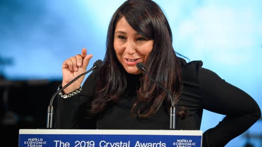 Saudi Arabian independent filmmaker Haifaa Al Mansour delivers a speech during a ceremony at the World Economic Forum (WEF) 2019 meeting, on January 21, 2019 in Davos, eastern Switzerland.