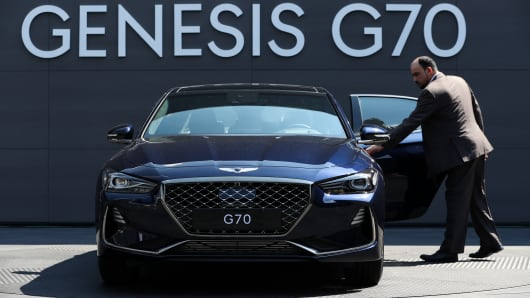 A Hyundai Motor Co. Genesis G70 sedan stands on display during a launch event in Hwaseong, South Korea, on Friday, Sept. 15, 2017.